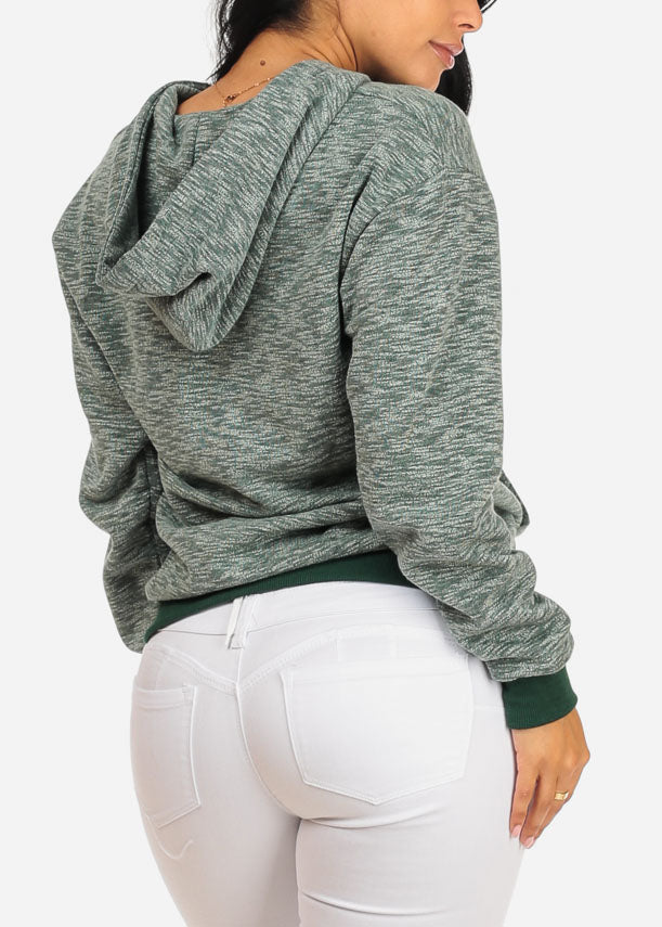 Lace Up Neckline Kangaroo Pocket Olive Sweater with hood
