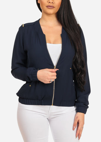 Image of Women's Stylish Lightweight Chiffon Navy Zip Up Trendy Jacket