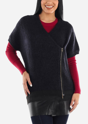 Navy Side Zip Up Poncho Sweater