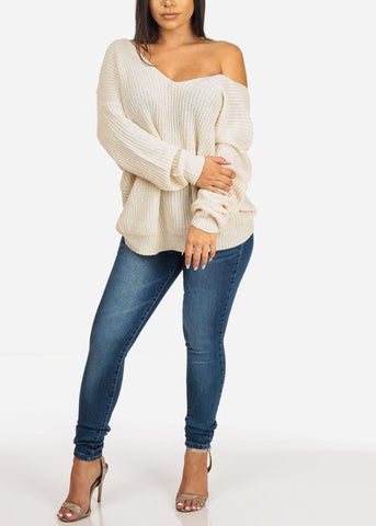 Beige Bow Tie Knitted Sweater