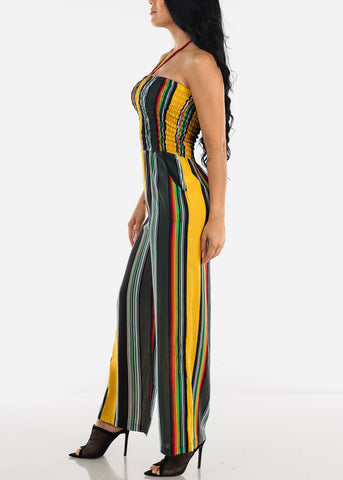 Strapless Mustard Stripe Jumpsuit