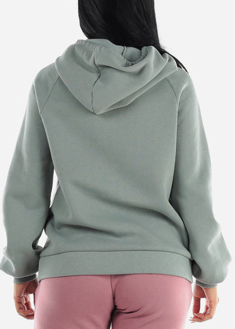 Light Green Oversized Fleece Hoodie Sweatshirt