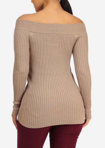 Casual Khaki Knitted Top
