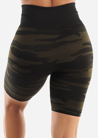 Image of Olive Camo Biker Shorts
