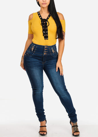 Image of Stylish Lace Up Mustard Top
