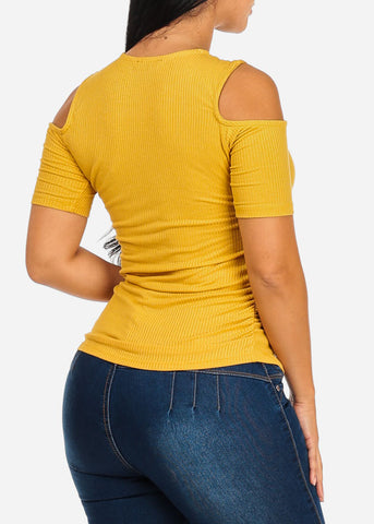 Stylish Lace Up Mustard Top