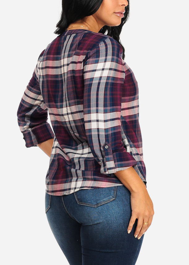Burgundy Plaid Print Top