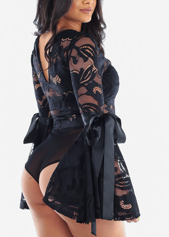 Image of Sexy Floral Lace Black Bodysuit