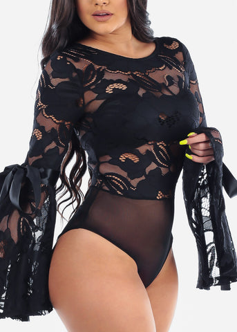 Women's Junior Ladies Sexy Stylish Going Out Clubwear Party Floral Lace See Through Angel Sleeve Black Bodysuit