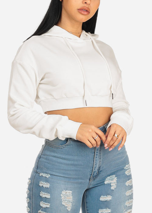 Hooded White Cropped Sweater