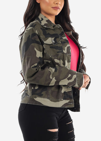 Image of Long Sleeve Button Up Olive Camouflage Army Print Jacket For Women Ladies Junior