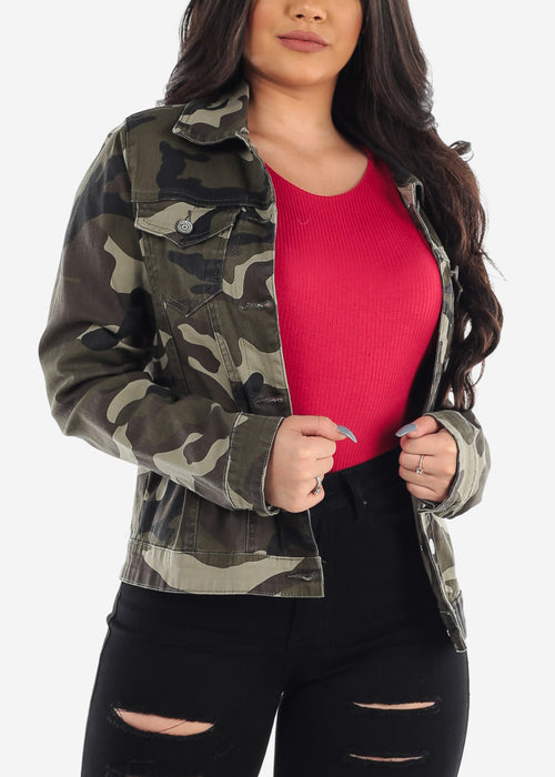 Long Sleeve Button Up Olive Camouflage Army Print Jacket For Women Ladies Junior