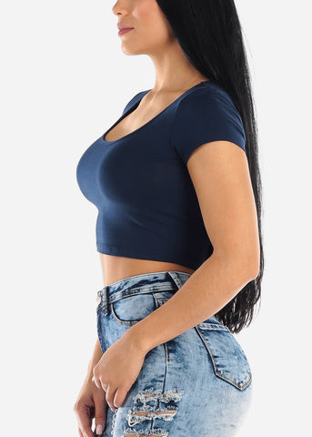 Short Sleeve Basic Navy Crop Top