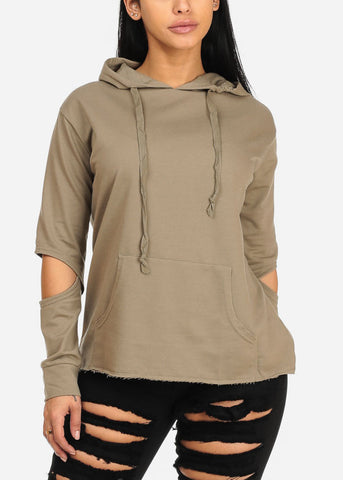 Image of Trendy Olive Sweater W Hoodie