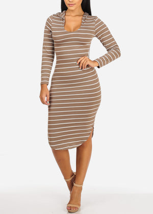 Casual Khaki Stripe Bodycon Dress