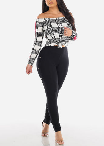 Sexy Off Shoulder Long Sleeve Knot Tie White Plaid Print Crop Top