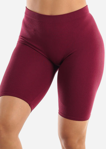 Image of Burgundy Biker Shorts