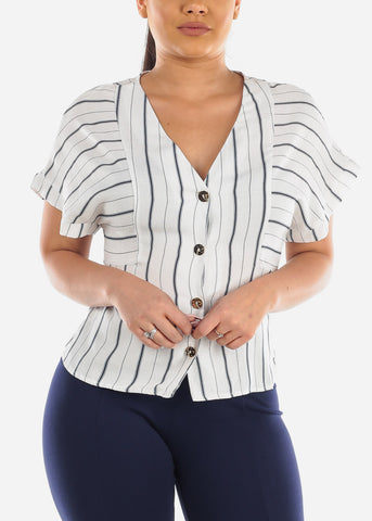 Image of Button Up White Stripe Top