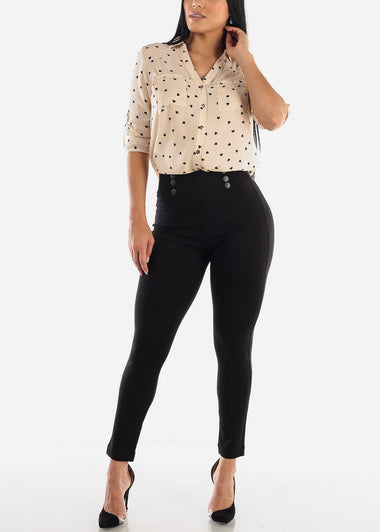 High Waist Button Black Pants
