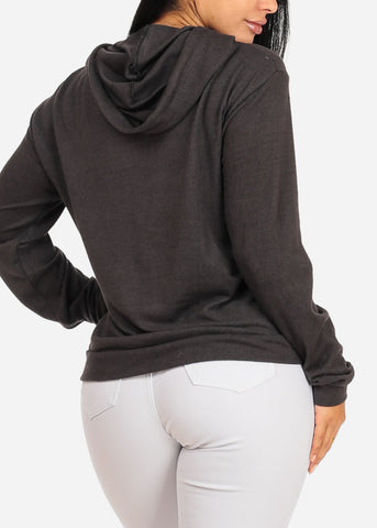 Image of Cozy Long Sleeve High Neck Charcoal Sweater Top W Hood