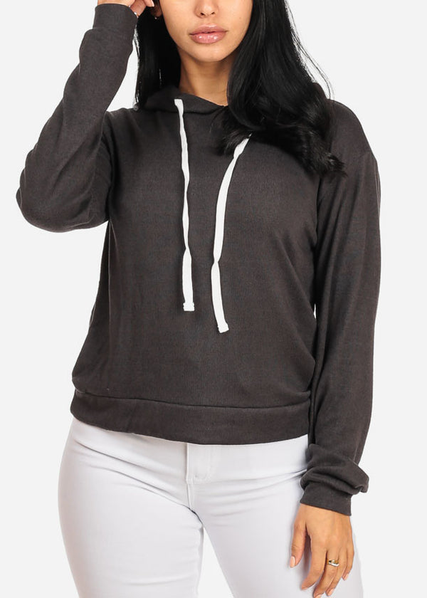 Cozy Long Sleeve High Neck Charcoal Sweater Top W Hood