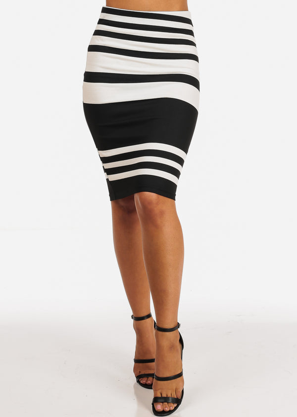 Career Wear High Rise Black & White Stripe Pencil Skirt