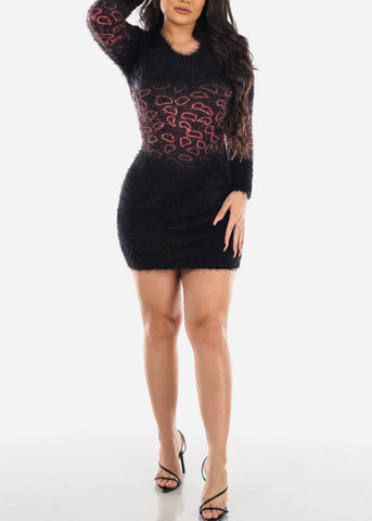 Image of Partial Print Faux Fur Black Bodycon Dress