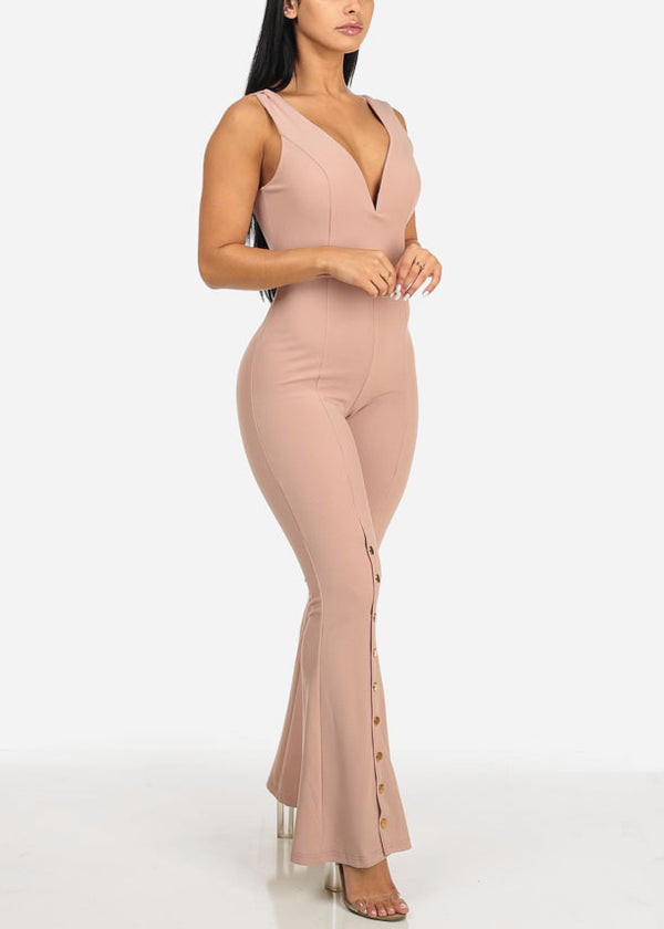 Sexy Button Up Detail Jumpsuit
