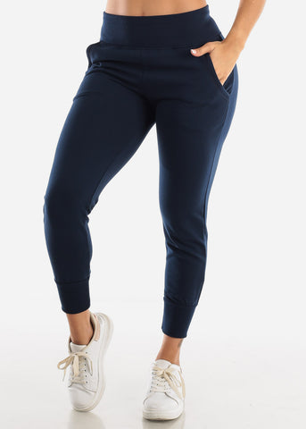 Navy High Waist Sweatpants