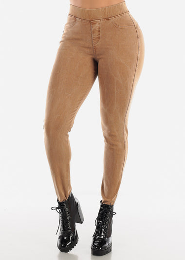 Pull On Butt Lifting Mocha Jegging Skinny Pants