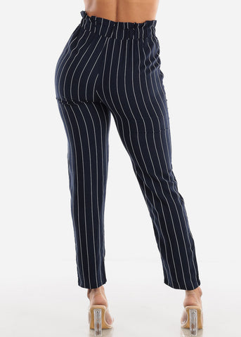 Navy Paperbag Stripe Pants