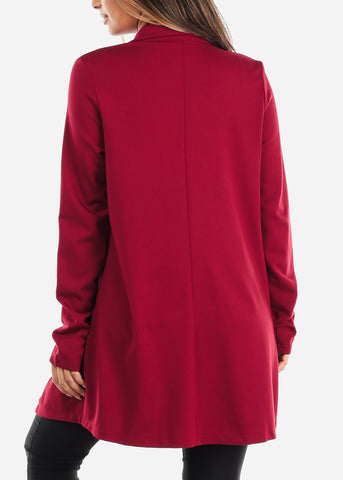 Image of Solid Red Open Front Blazer