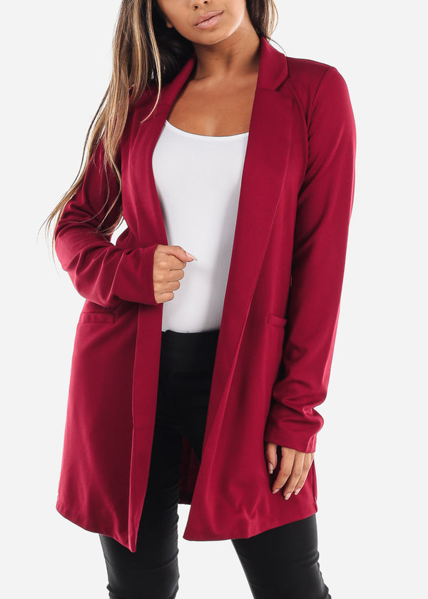 Solid Red Open Front Blazer