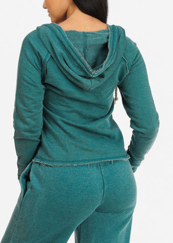 Image of Casual Wear Teal Sweater W Hood