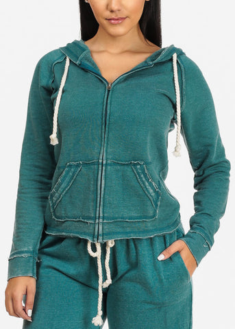 Teal Sweater W Hood