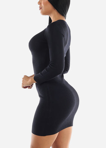 Ribbed Navy Bodycon Sweater Dress