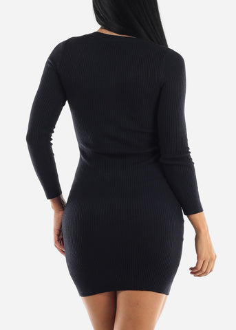 Image of Ribbed Navy Bodycon Sweater Dress