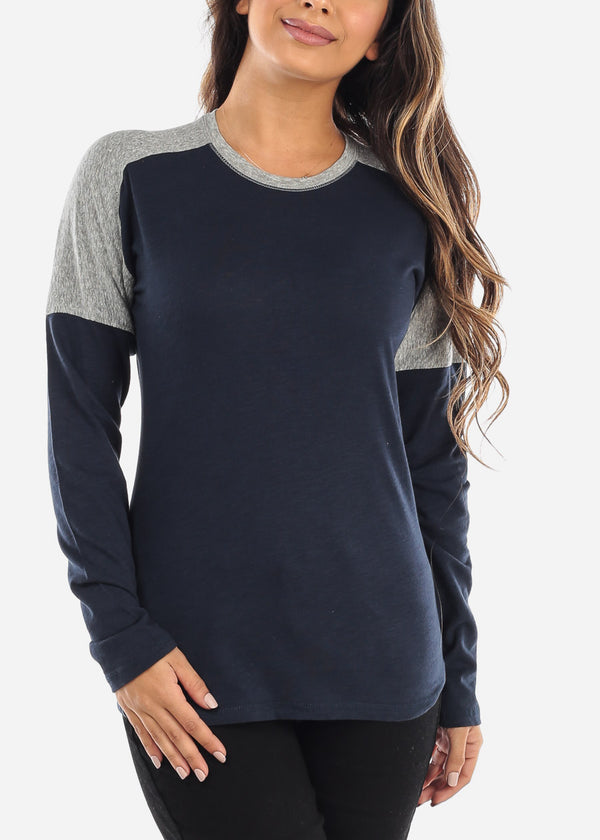Navy & Grey Colorblock Long Sleeve Shirt