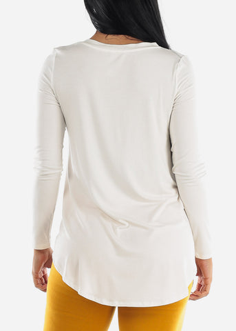 Ivory V-Neck Dolphin Hem Tunic Top