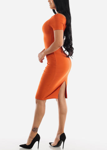 Off Shoulder Brick Bodycon Midi Dress