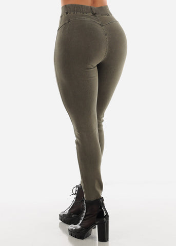 Pull On Butt Lifting Olive Jegging Skinny Pants
