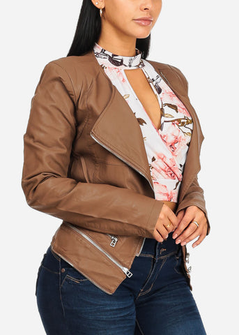 Image of Zip Up Brown Pleather Jacket
