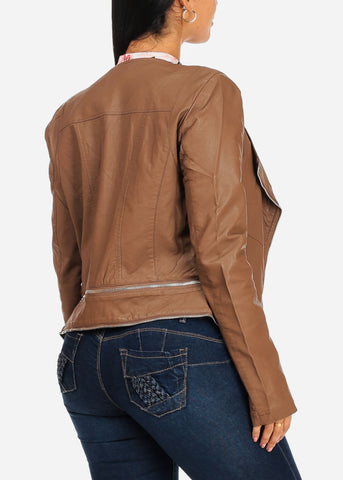 Zip Up Brown Pleather Jacket