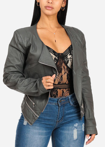 Charcoal Zip Up Pleather Jacket