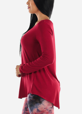 Red V-Neck Dolphin Hem Tunic Top