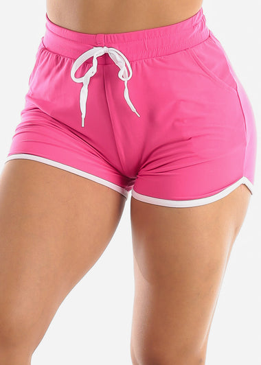 Pink High Rise Dolphin Shorts