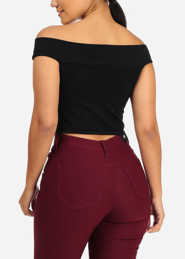 Off Shoulder Front Zipper Black Crop Top