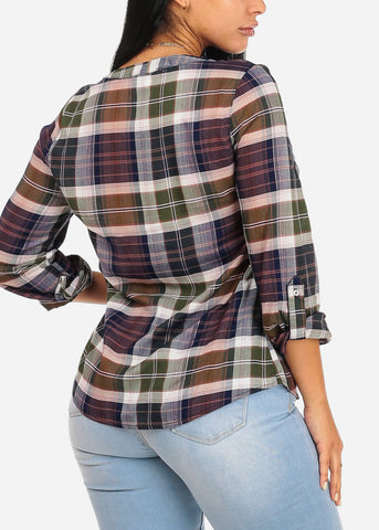 Image of Casual Olive Plaid Print Top