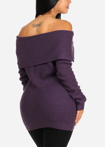 Cozy Off Shoulder Purple Knitted Sweater