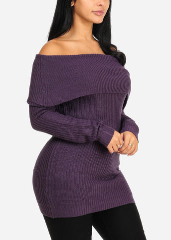 Image of Cozy Off Shoulder Purple Knitted Sweater